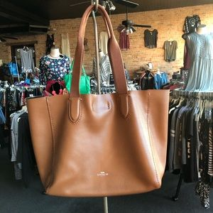 Coach Derby Tote camel pebbled leather
